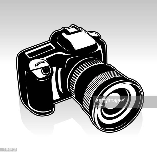 ilustraciones, imágenes clip art, dibujos animados e iconos de stock de cámara slr digital - camara reflex