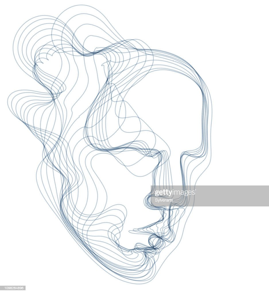 Digital soul of machine, Artificial Intelligence software visualization of human head made of dotted particles flowing wave lines array. Technical era period of evolution.