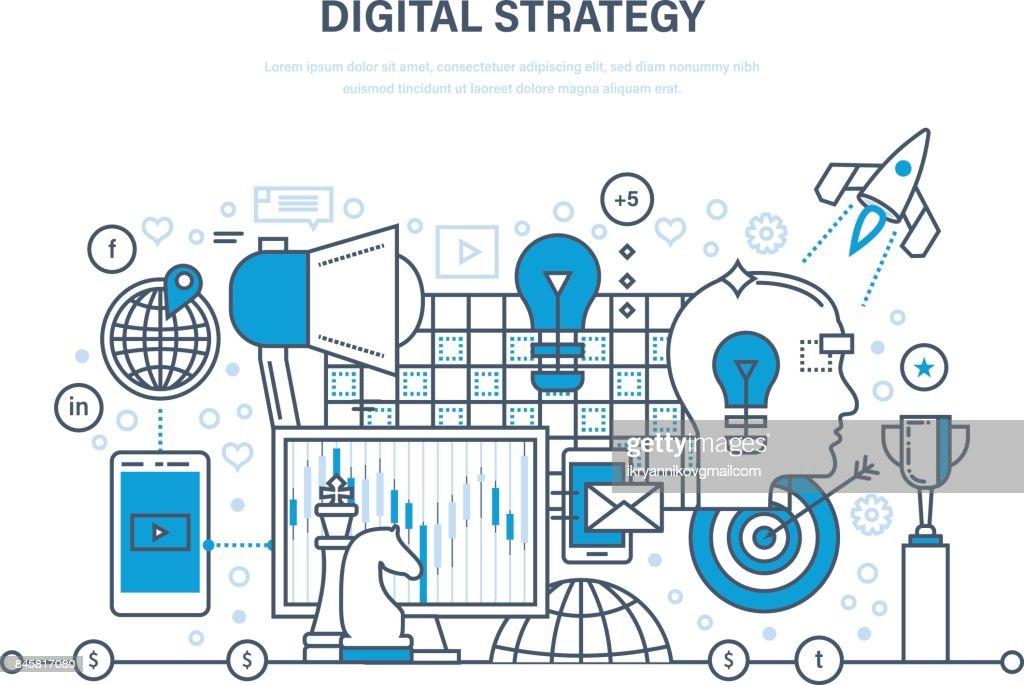 Digital strategy. Digital marketing, media planning, online business and purchasing