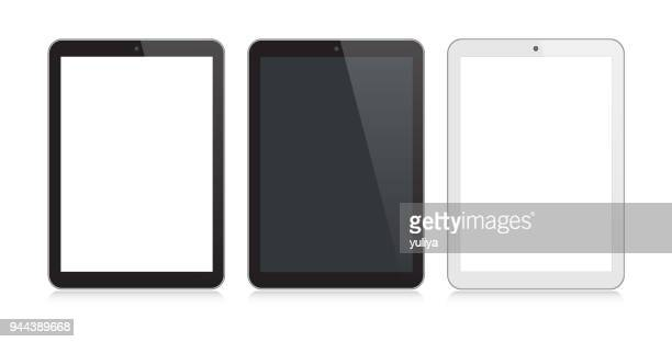 digital tablet black and silver color with reflection - digital tablet stock illustrations