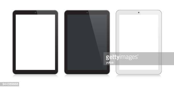 デジタル タブレットの反射で黒と銀の色 - タブレット端末点のイラスト素材/クリップアート素材/マンガ素材/アイコン素材
