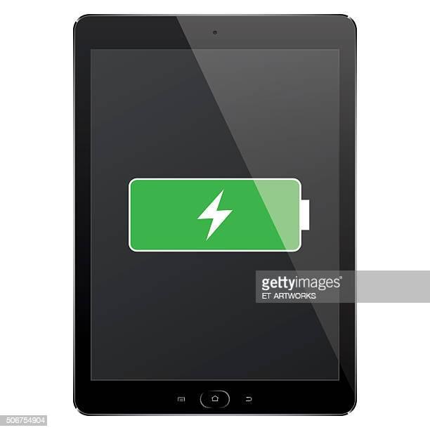 デジタルタブレットフルバッテリ - チャージする点のイラスト素材/クリップアート素材/マンガ素材/アイコン素材