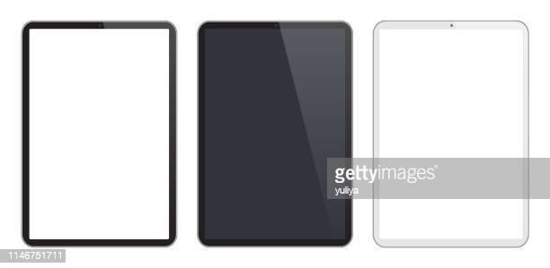 黒と銀の色でデジタルタブレット、現実的なベクトルイラスト - タブレット端末点のイラスト素材/クリップアート素材/マンガ素材/アイコン素材