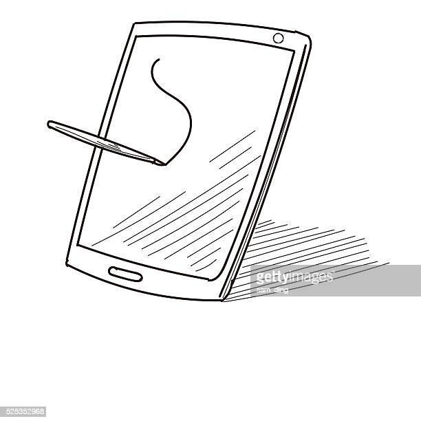 ilustraciones, imágenes clip art, dibujos animados e iconos de stock de tableta digital - tableta gráfica