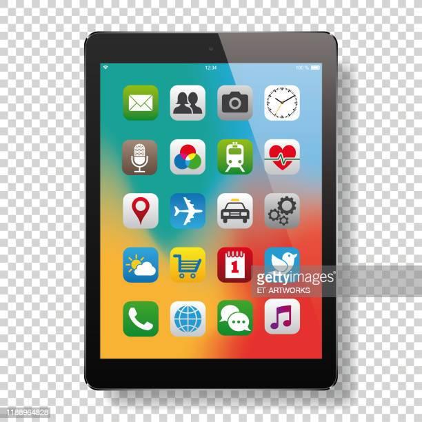 illustrazioni stock, clip art, cartoni animati e icone di tendenza di digital tablet with app icons - software