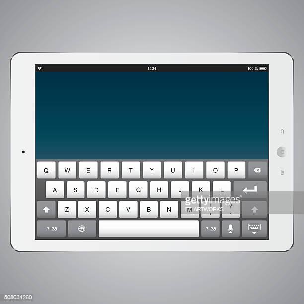 ilustraciones, imágenes clip art, dibujos animados e iconos de stock de tableta digital con pantalla digital de teclado de ordenador - teclado de ordenador