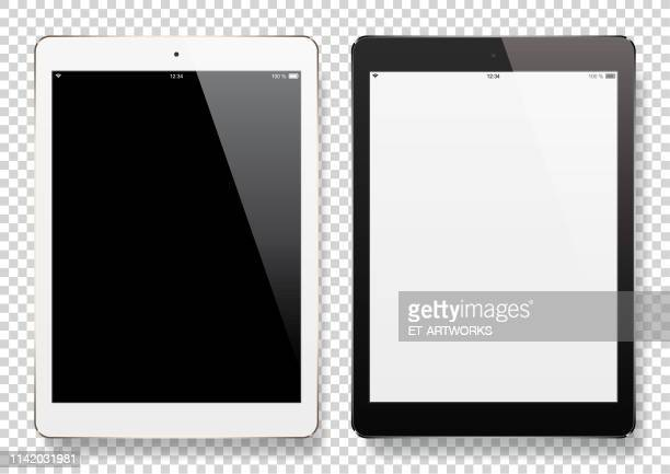digital tablets with blank screen - white background stock illustrations