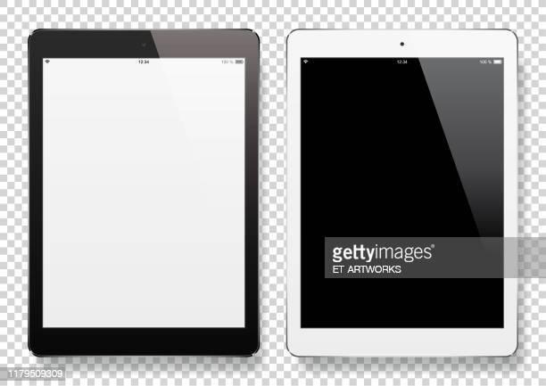 digital tablets with blank screen - digital tablet stock illustrations