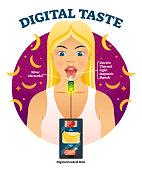 Digital taste vector illustration. Explained gustation sensor technology.