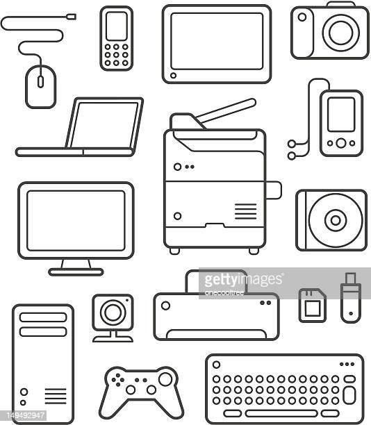 digital technics icons set - photocopier stock illustrations, clip art, cartoons, & icons