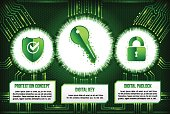 Digital technology concept of background with shield, key and padlock. Modern safety digital background.
