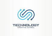 Digital technology creative symbol concept. Electronics, software, hardware upgrade, integration abstract business pictogram. Circuit board, chip icon