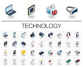 Digital technology isometric icons. 3d vector