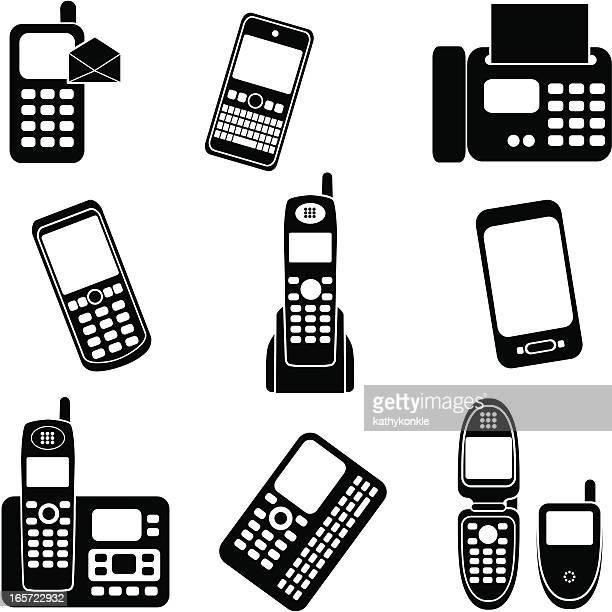 ilustraciones, imágenes clip art, dibujos animados e iconos de stock de teléfono digital en blanco y negro - telefono fijo