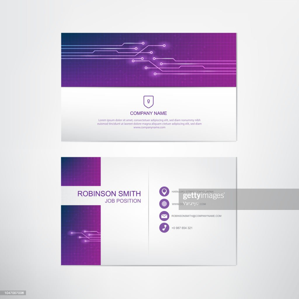 Digital Ultra Violet Business card template,contact and company card design,vector.