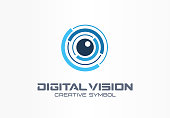 Digital vision creative symbol concept. Eye iris scan, vr system abstract business pictogram