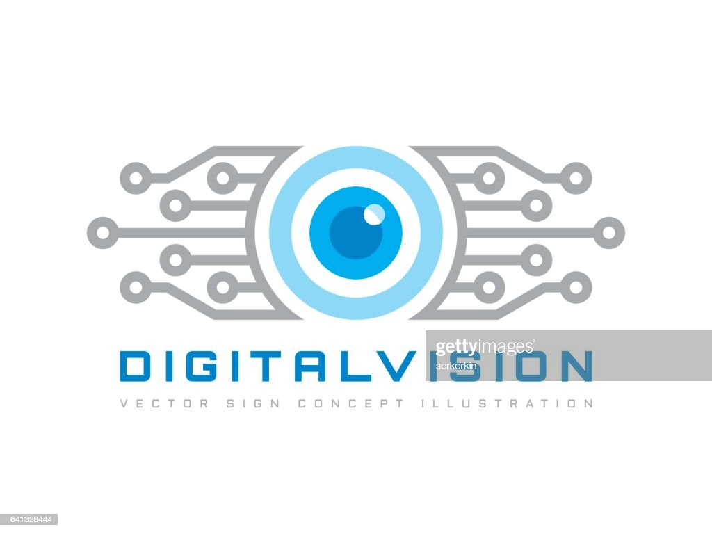 Digital vision - vector template concept illustration. Abstract human eye creative sign. Security technology and surveillance. Design element.