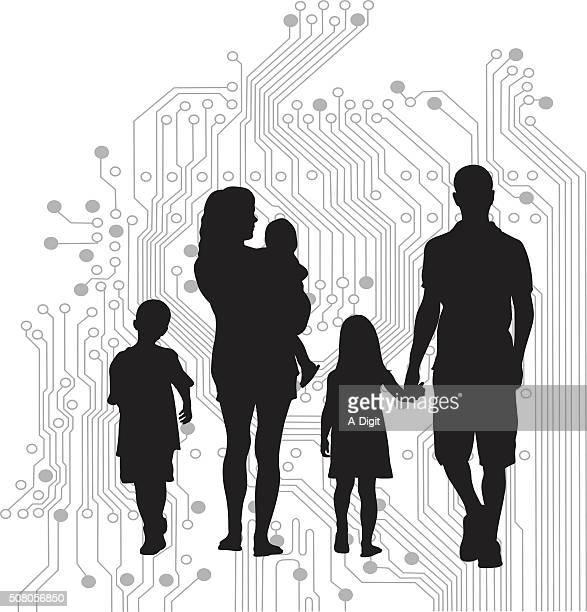 Digital World Family Silhouette