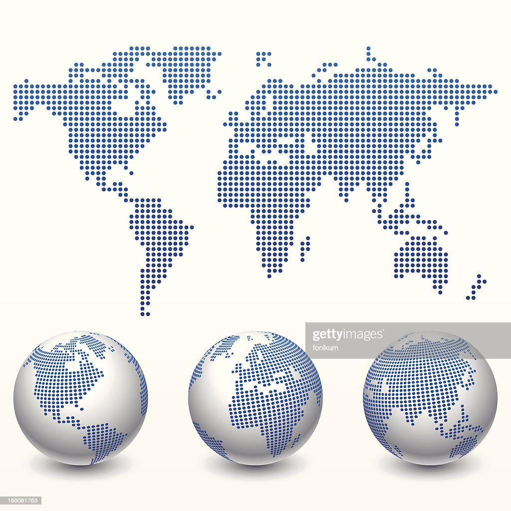 Digital World Map & Globe (Vector)
