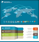 Digital world map with infographics elements