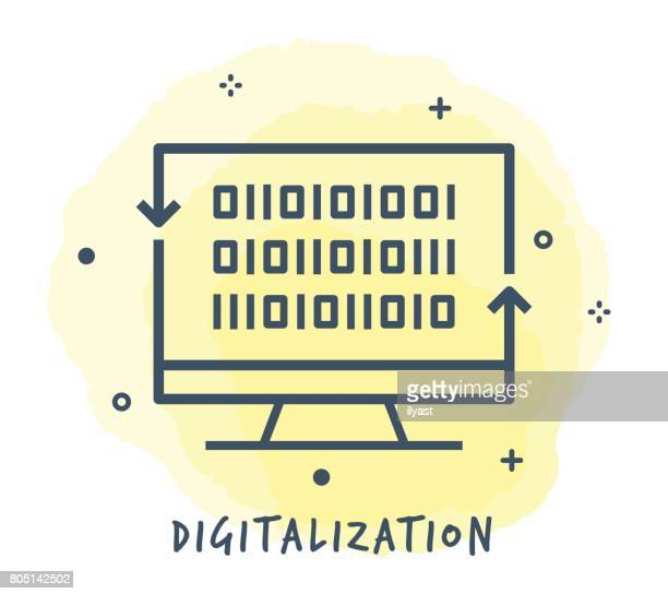 digitalization line icon - rapid stock illustrations