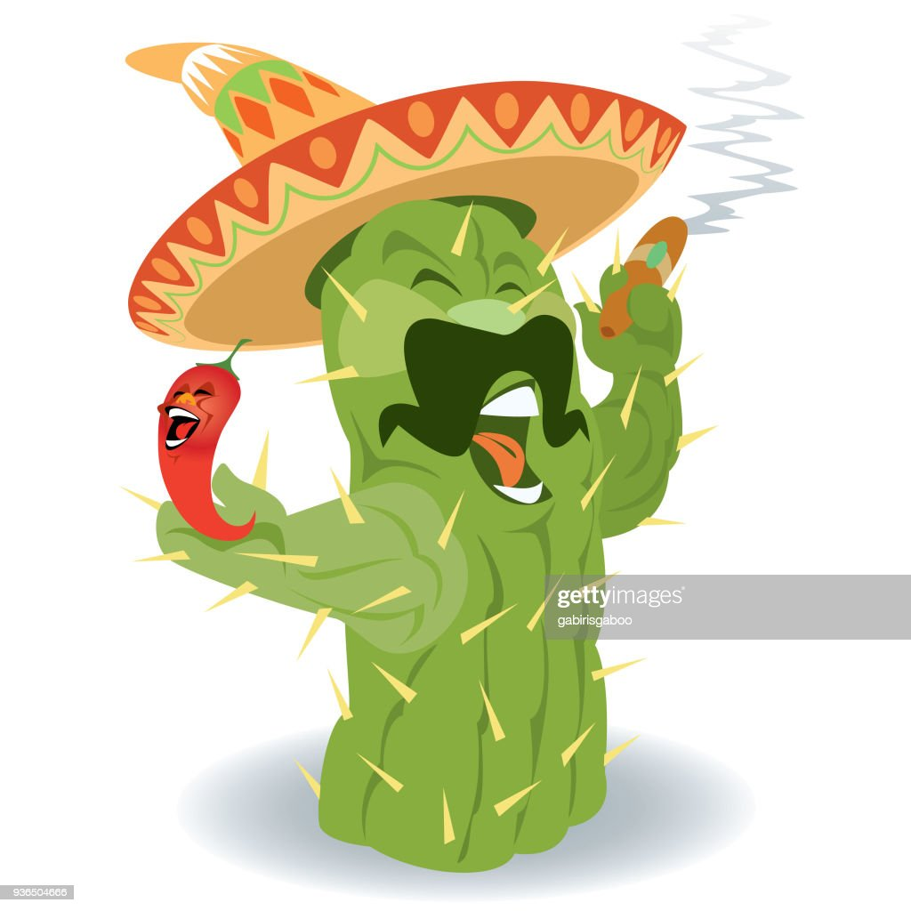 Digitally generated cactus character holding big cigar and red paprika with sombrero hat