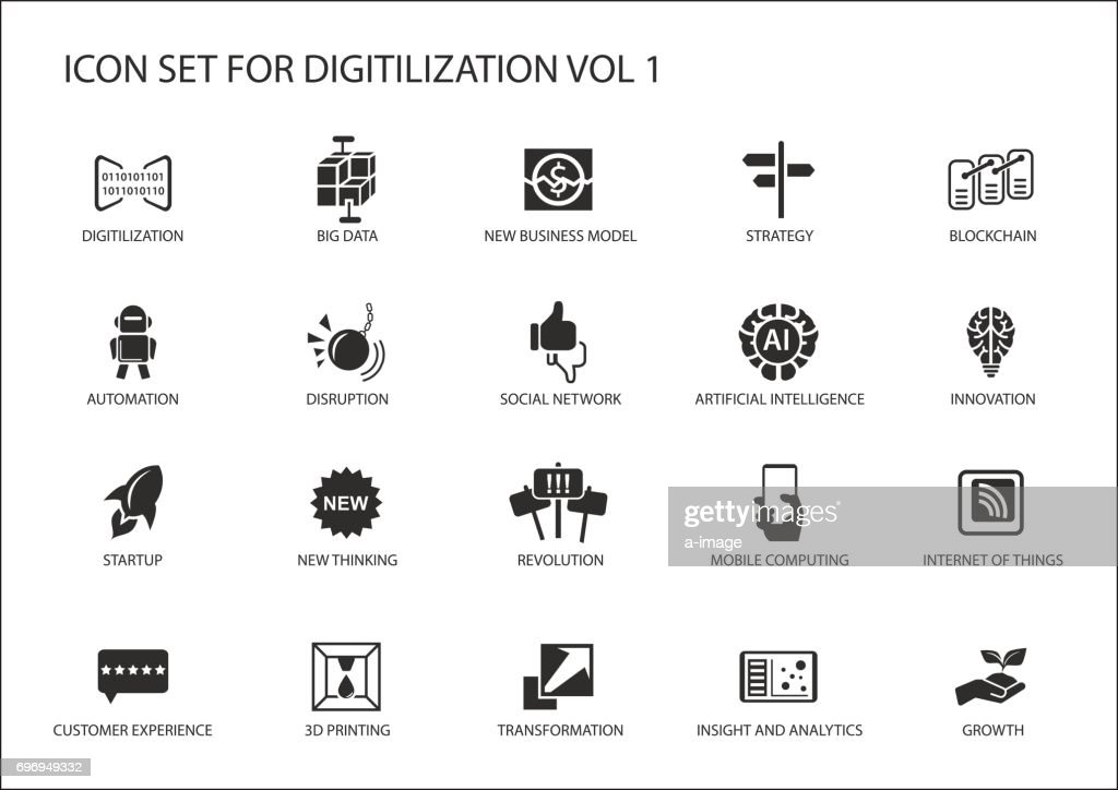 Digitilization vector icons for topics like big data, blockchain, automation, customer experience, mobile computing, internet of things, insights, analytics