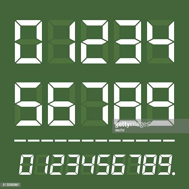 stockillustraties, clipart, cartoons en iconen met led digits on green - scorebord