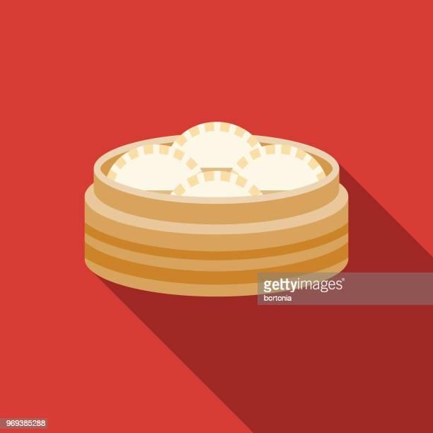 ilustraciones, imágenes clip art, dibujos animados e iconos de stock de icono de año nuevo chino dim sum diseño plano - al vapor