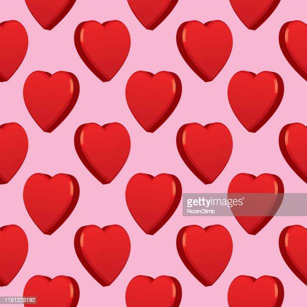 dimensional hearts seamless pattern - lip gloss stock illustrations, clip art, cartoons, & icons
