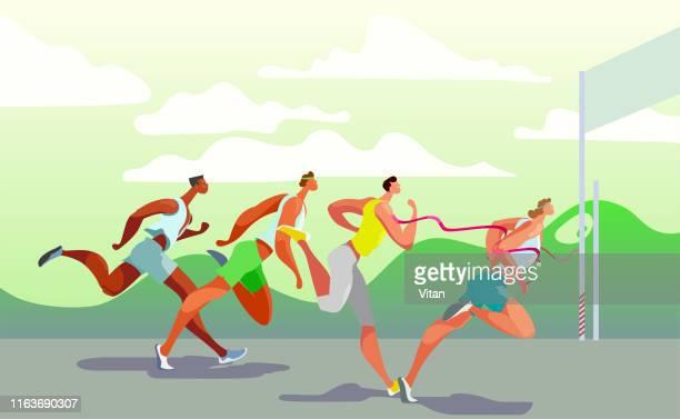 dinamic running people. winner. sports competition on the air. marathon run. vector. eps10 - scoring run stock illustrations