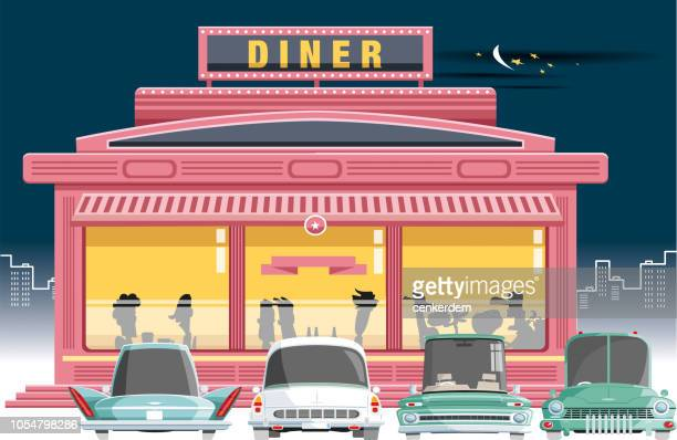 stockillustraties, clipart, cartoons en iconen met diner en passagiers - snackbar