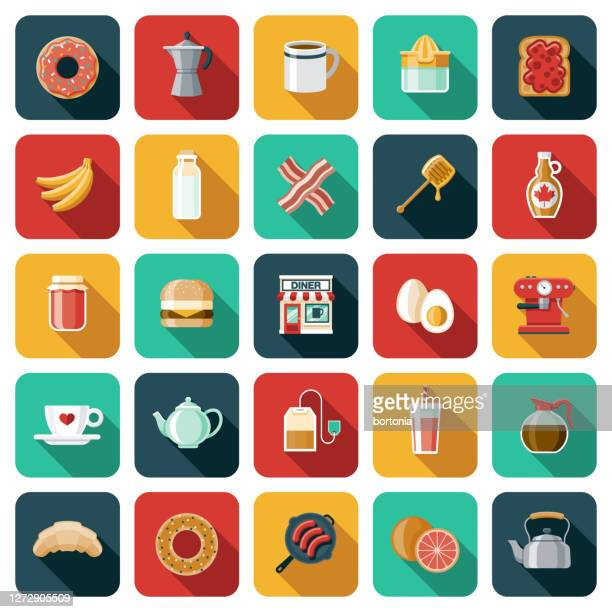 diner icon set - maple syrup stock illustrations
