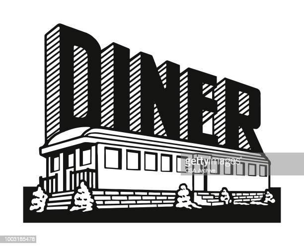 stockillustraties, clipart, cartoons en iconen met diner - snackbar