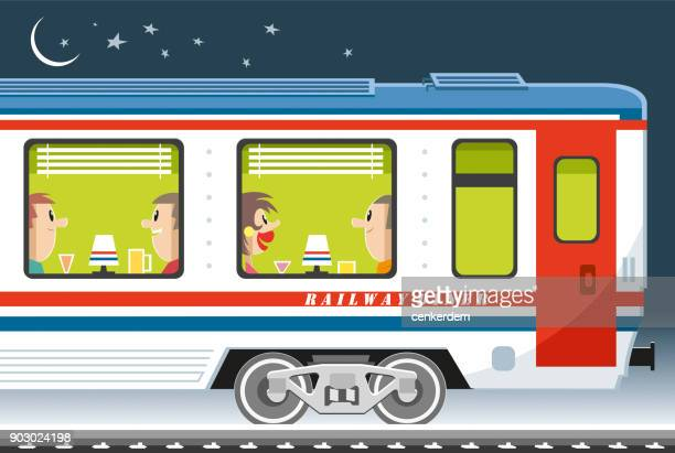 dining car and passengers - carriage stock illustrations