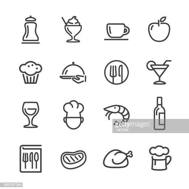 ilustrações, clipart, desenhos animados e ícones de ícones de jantar - linha série - camarões