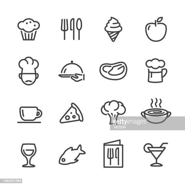 ilustrações, clipart, desenhos animados e ícones de ícones de jantar - linha série - chef de cozinha