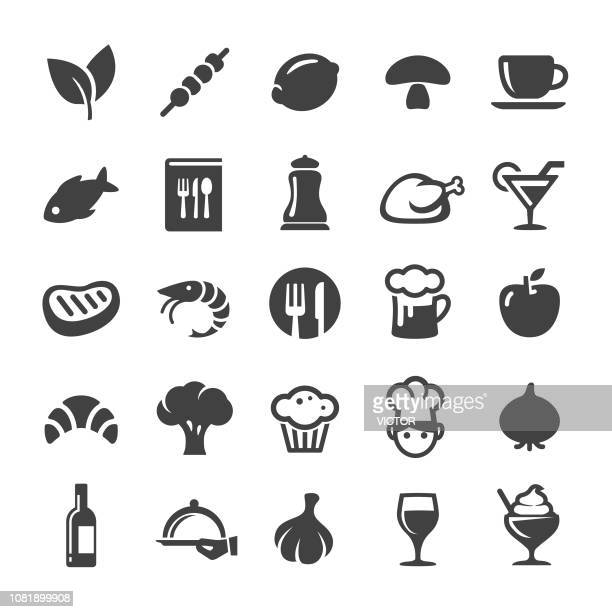 dining icons - smart series - meat stock illustrations