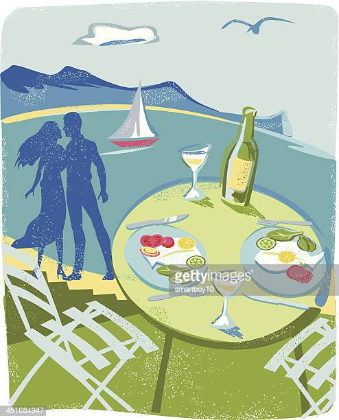 dining outdoors - lunch break stock illustrations, clip art, cartoons, & icons