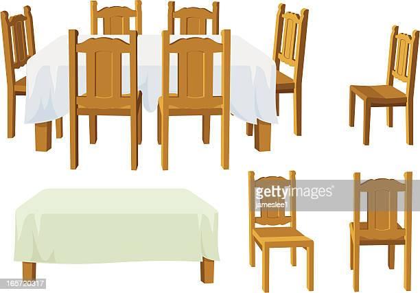 ilustraciones, imágenes clip art, dibujos animados e iconos de stock de muebles de comedor - mesa de comedor