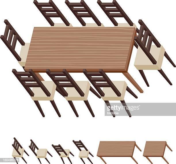 ilustraciones, imágenes clip art, dibujos animados e iconos de stock de mesa y sillas de comedor - mesa de comedor