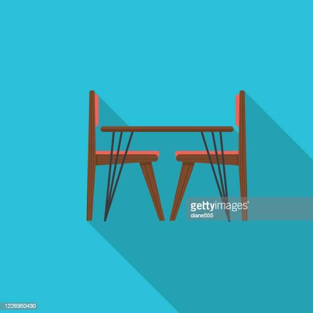 ilustraciones, imágenes clip art, dibujos animados e iconos de stock de mesa de comedor flat design kitchen icon - mesa de comedor
