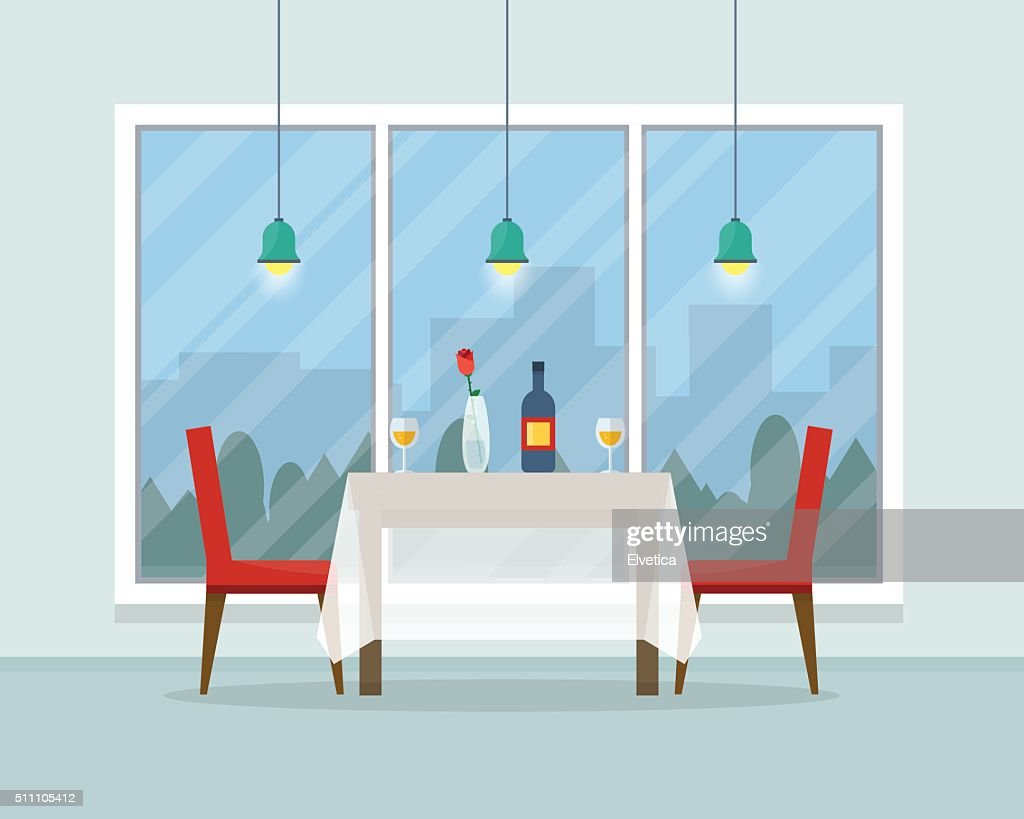 Dining table for date with glasses of wine