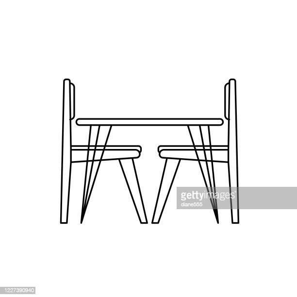 ilustraciones, imágenes clip art, dibujos animados e iconos de stock de icono de la cocina de la mesa de comedor - mesa de comedor