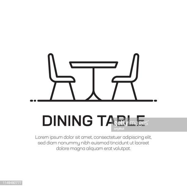 dining table vector line icon - simple thin line icon, premium quality design element - table stock illustrations