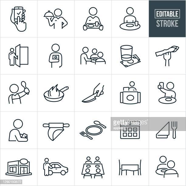 illustrazioni stock, clip art, cartoni animati e icone di tendenza di icone della linea sottile da pranzo - tratto modificabile - ordine