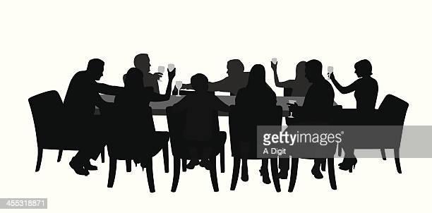 ilustraciones, imágenes clip art, dibujos animados e iconos de stock de diningtogether - mesa de comedor