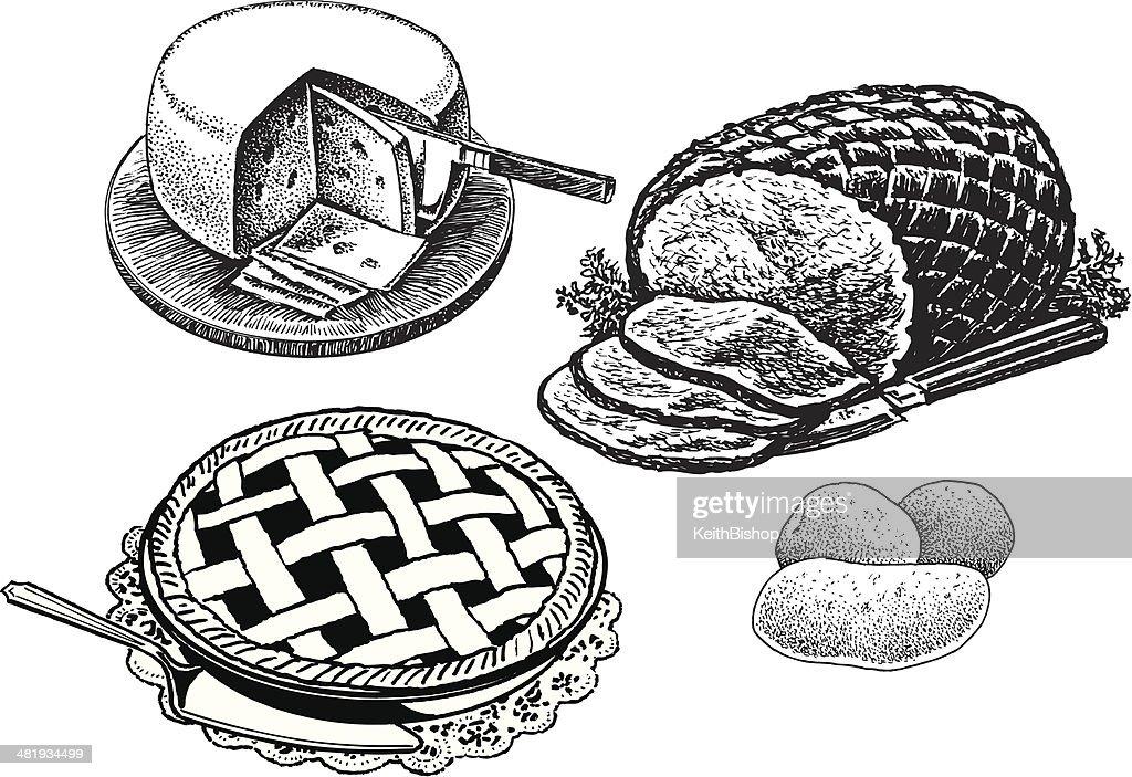 Dinner - Cheese, Sliced Ham, Pie, Potatoes, Holiday Food : stock illustration