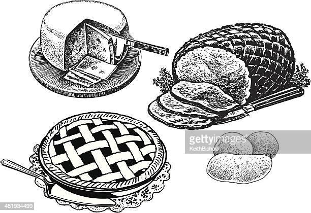ilustraciones, imágenes clip art, dibujos animados e iconos de stock de cena en rebanadas de jamón, queso, papas, pastel de carne, alimentos navideños - patatas preparadas