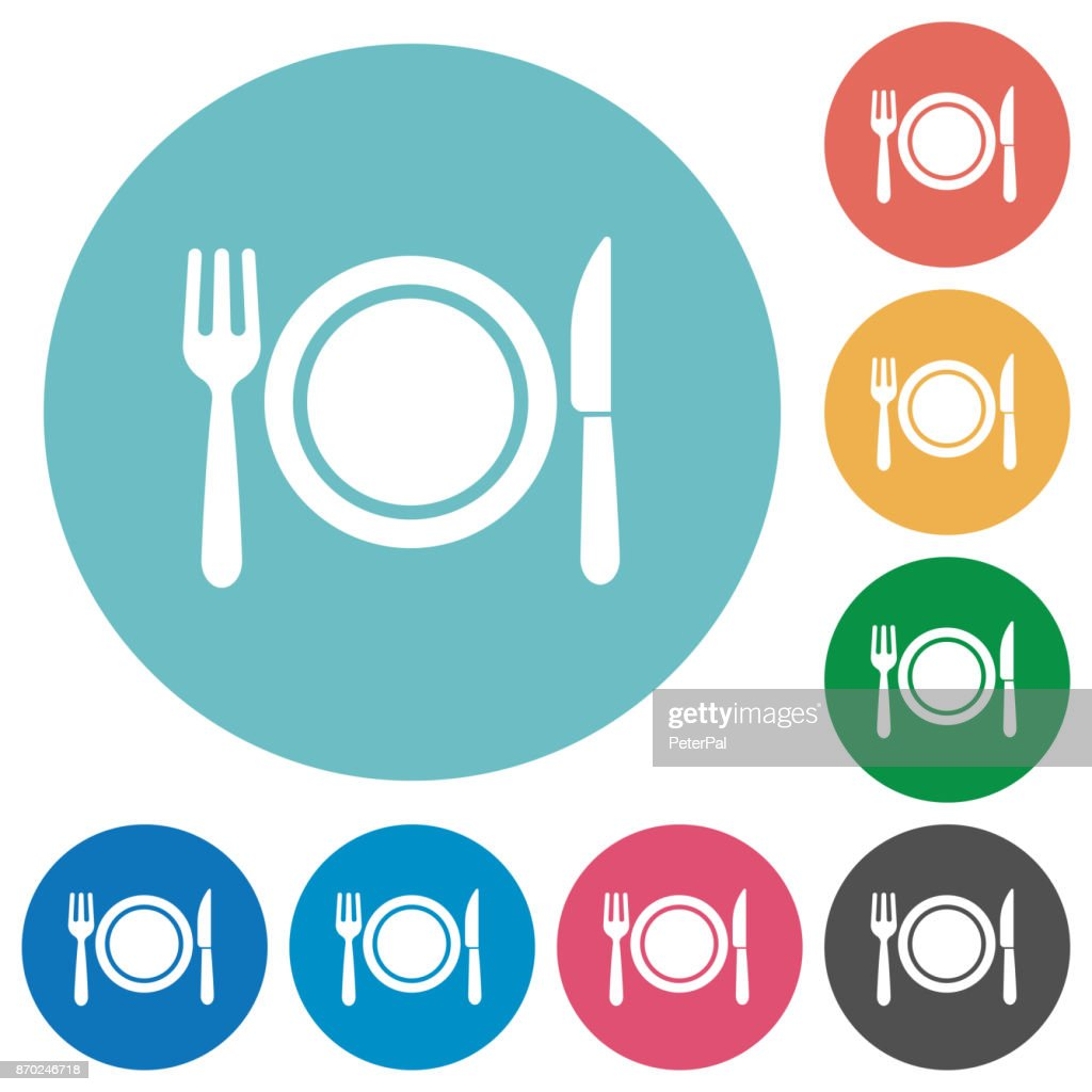 Dinner flat round icons
